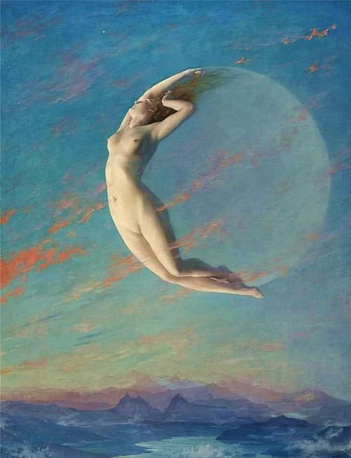 """Albert Aublet (1851 - 1938) Pupil of: Jacquand and Gerome; protege of Claude Monet. In the hands of Albert Aublet """"The New Moon"""" becomes a graceful female figure, which forms a crescent in a sky fleeced with clouds, that wreathe in vapors above the pale peaks of the legendary Mountains of the Moon."""