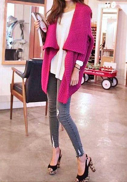 Batwing Sweater Coat - Plum | Lookbook Store