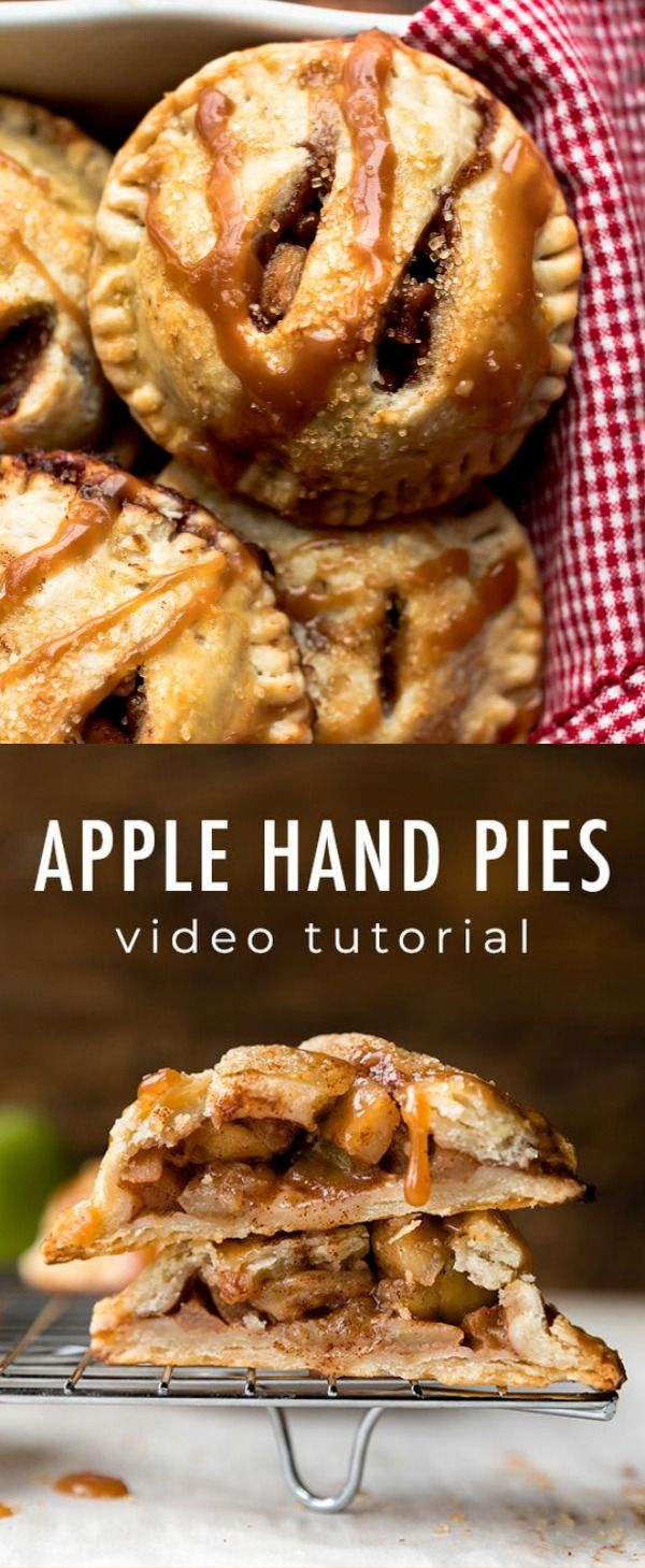 Apple hand pies with homemade buttery flaky pie crust and juicy apple pie filling! Topped with salted caramel, these mini apple pies are both delicious and adorable. Recipe on sallysbakingaddiction.com