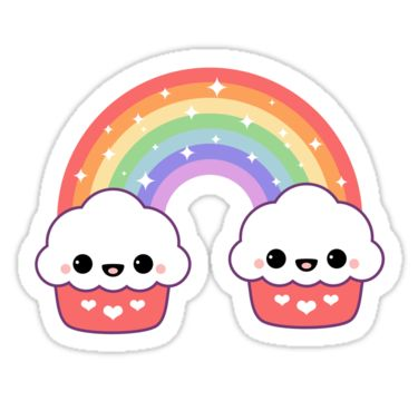 Super cute rainbow cupcake stickers