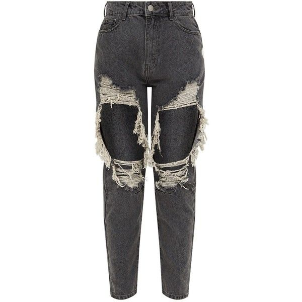 Grey Extreme Rip Boyfriend Jean ($49) ❤ liked on Polyvore featuring jeans, torn jeans, destructed jeans, distressing jeans, gray jeans and destruction jeans