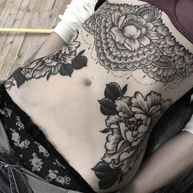 Symmetrical Botanical Torso Tattoos