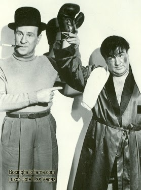 "Every ""baby boomer"" 1950's kid watched this comedy duo, Abbott and Costello. One of the greatest comedy duos of all time. They did a movie with a boxing scene, ""Abbott and Costello Meet the Invisible Man."" Costello was a big boxing fan and had a short boxing career himself.  Boxing Hall of Fame - Google+  boxinghalloffame.com"
