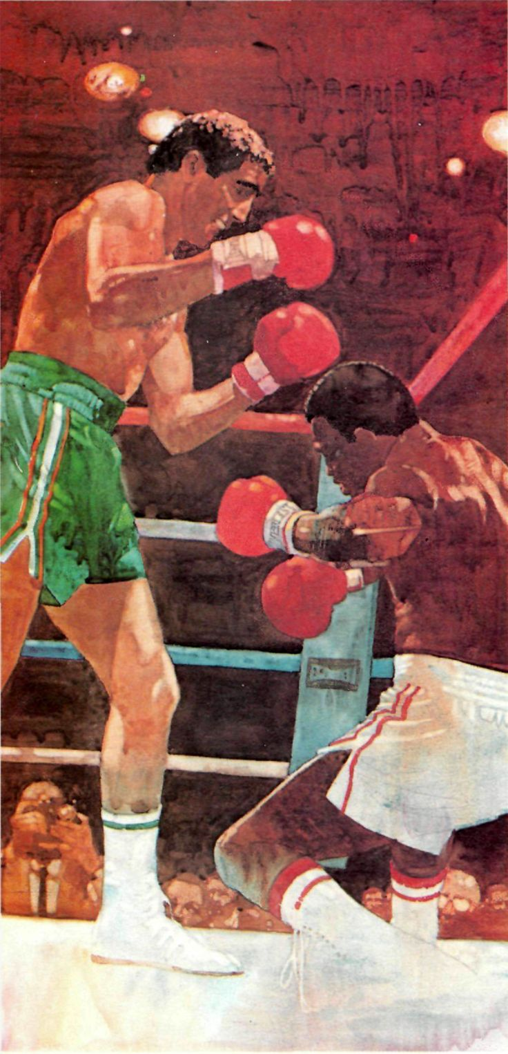 Bart Forbes painting, Gerry Cooney vs. Larry Holmes, 1982.