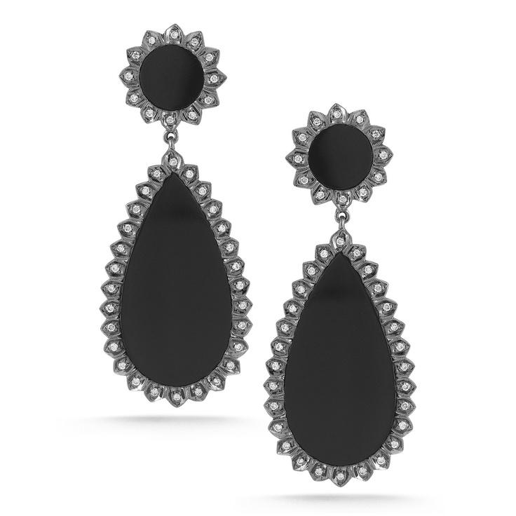 Dana Rebecca One Of A Kind Earrings: Black Onyx, Elizabeth 14K, 14K Post, Diamond Earrings, Sara Elizabeth, Dana Rebecca, Earrings Sara, 14K Black, Danarebecca Dropdangle