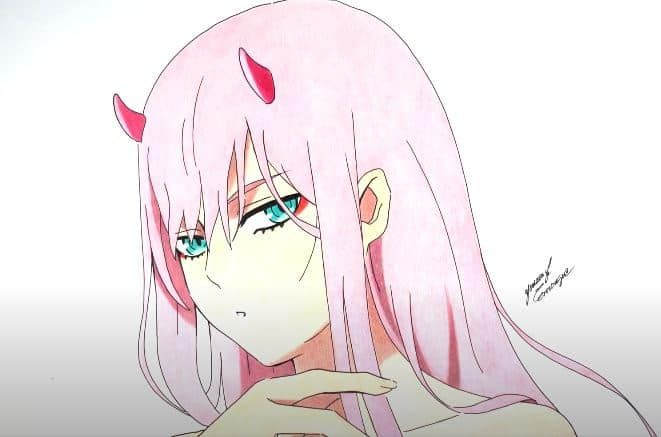 Zero Two From Darling In The Franxx Rishirs123 Darling In The Franxx Drawing Sketches Drawings