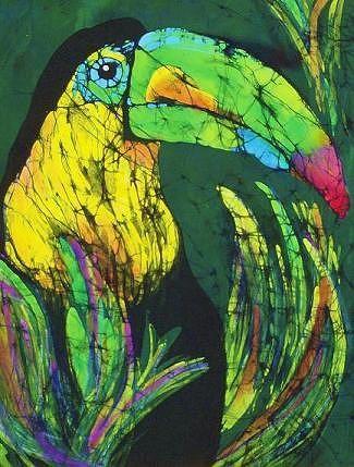 Toucan Fine Art Batik Tapestry - Textile by Kay Shaffer