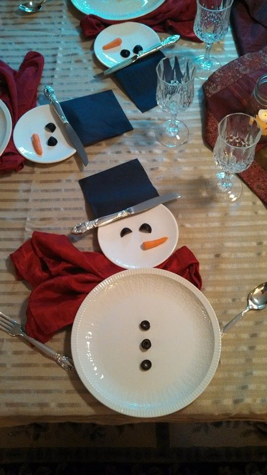 Christmas snowman table setting