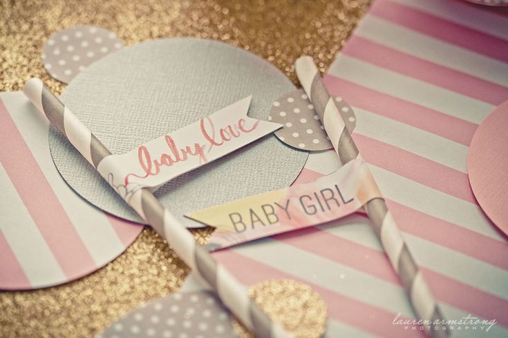 Ideas for an adorable Baby Girl Shower!: Babyshower Baby, Shower Ideas, Straws Flags Baby Shower, Glitter Baby Showers, Projects Nurseries, Pink Grey, Baby Girls, Girls Baby Shower, Girls Nurseries