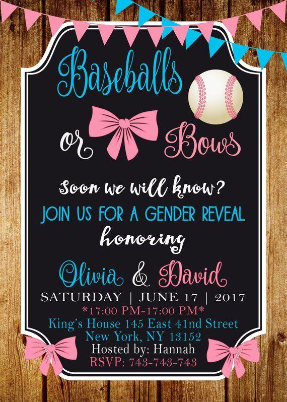 Baseballs Or Bows Gender Reveal Invitation Pink And Blue Gender Reveal Theme Gender Reveal Baseballs Or Bows Invite Baseball or Bows