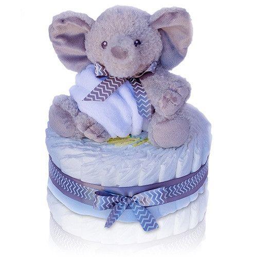 One Tier Chevron Elephant Diaper Cake
