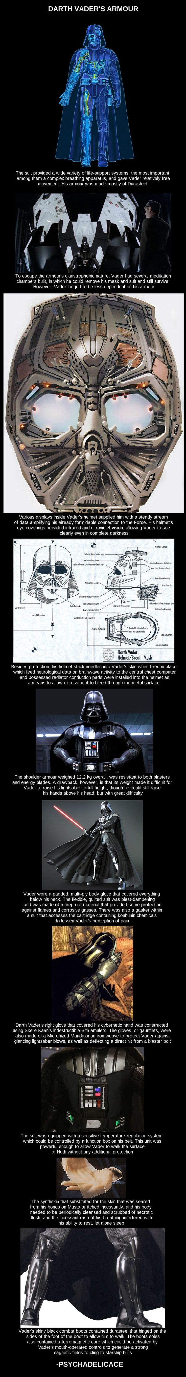 "Darth Vader's Armor.  Fun fact: Vader's boots actually pre-date his helmet - Lucas created a breath mask for his villain as he was originally walking on the outside of Leia's ship to enter it. The whole ""more machine than man"" idea evolved out of that concept. #DarthVader"