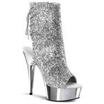 Silver Glitter Open Back Ankle Boot