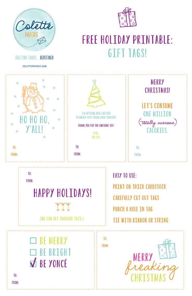 FREE gift tag printable - funny gift tags from Colette Paperie. For best image download PDF here: http://www.colettepaperie.com/printable.pdf