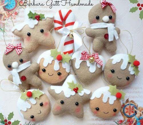 Figuras navideñas de fieltro para decorar arbol de navidad06