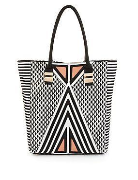 White Mix Diamond & Stripe Print Shopper Bag