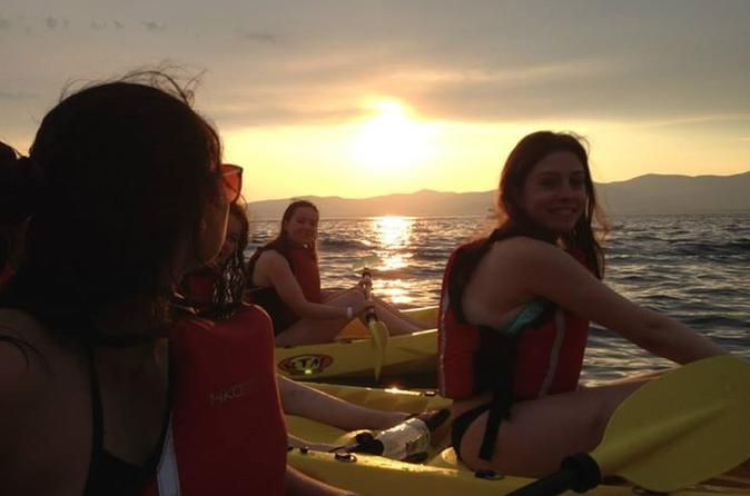 Sunset Sea Kayaking Tour in Split  This 4-hour sea kayaking adventure also offers you the opportunity to snorkel, do a bit of swimming, cliff climbing and jumping, and some underwater photo-shooting around Marjan, which is considered a main natural attraction in the city.This kayaking tour offers a unique combination of paddling (kayaking), snorkeling, swimming, cliff jumping, cliff climbing, and underwater photography. Your tour will start at the Bene Beach, near Marjan. Afte...