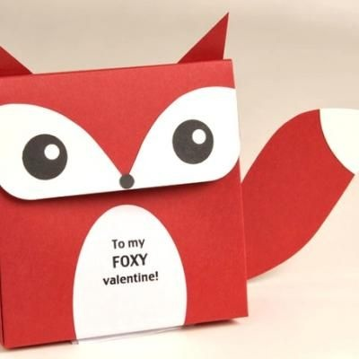Foxy Valentine Favors {Free Printable Valentines Day Craft}: Diy Valentines Day, Valentines Crafts, Foxy Valentines, Valentines Boxes, Gifts Bags, Favors Boxes, Valentines Cards, Gifts Boxes, Valentines Day Cards