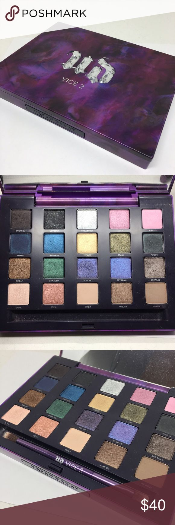Urban Decay UD Vice 2 Palette Barely used and in great shape! Brush included Urban Decay Makeup Eyeshadow