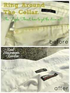If you're battling Ring Around the Collar you need to check out our Triple Threat to get the stains out.  The results are amazing.  Housewivesofriverton.com Stain removal|clothing