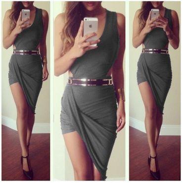 Sexy V Neck Tank Sleeveless Waist Cut-out Grey Blending Asymmetrical Mini Dress