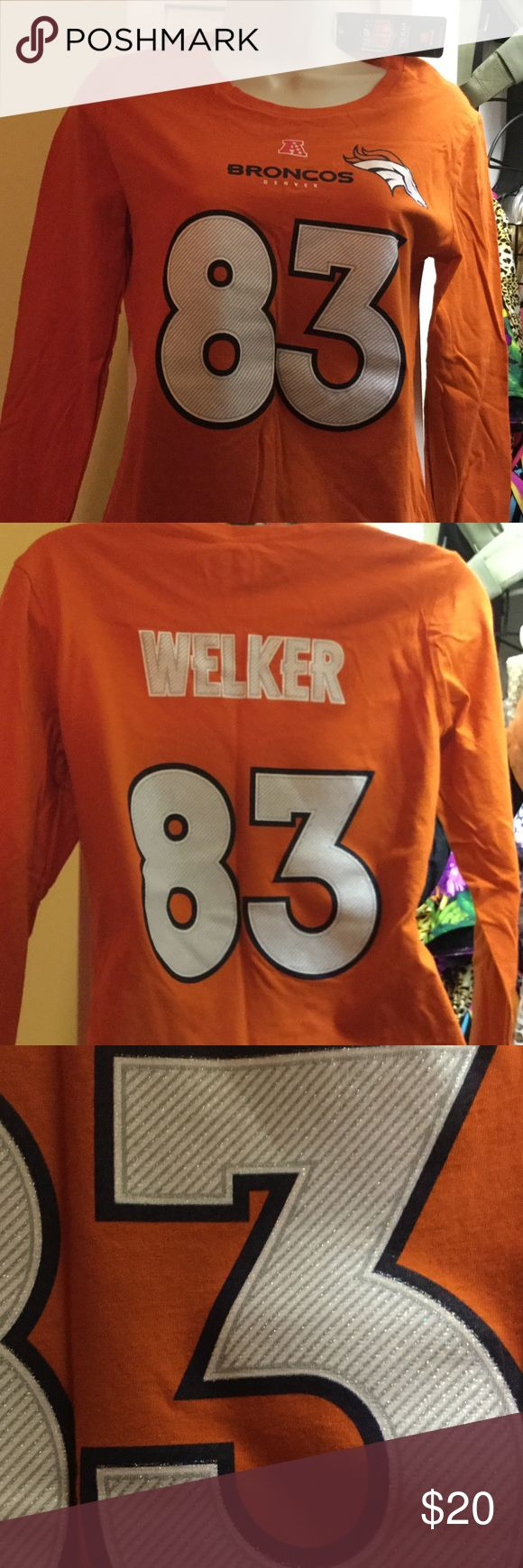 Broncos tee Denver Broncos women's tee. Welker #83. Orange nfl Tops Tees - Long Sleeve