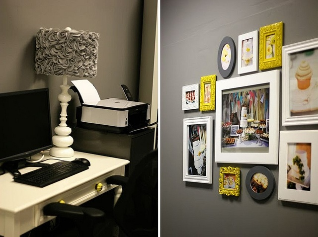 Great idea with the yellow accent colored frames in the photo collage!
