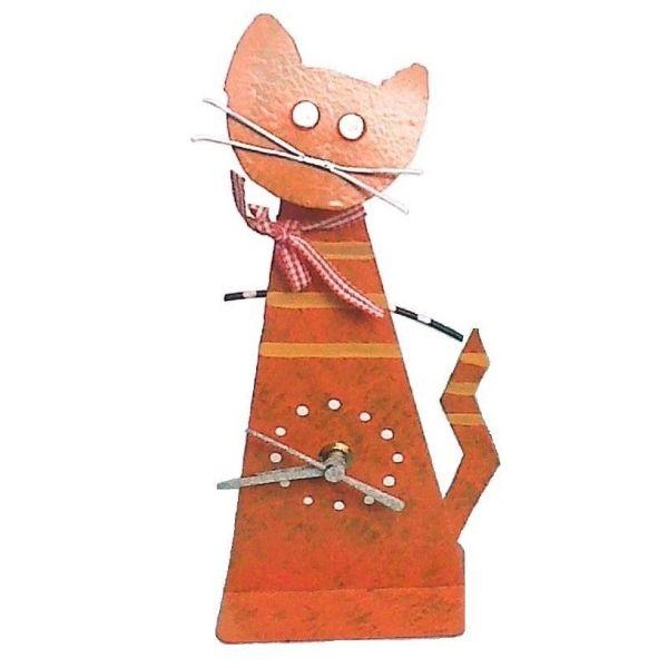 Oxidos Cat Table Clock - Orange