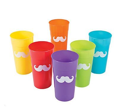 Rainbow Moustache Party Tumblers (12).  These 'stache bash themed containers are great for handing out party favors or filling with beverages!   Add some festive colour to your 'stache bash with these large sized Rainbow Moustache Tumblers. Party guests young and old will love adding these plastic glasses to their own 'stache of drinkware.  12 tumblers; plastic; 17.1cm. assort. colours