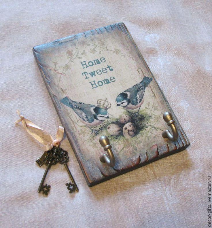 """Купить Ключница """"Птички-синички"""" (вешалка, дерево, декупаж) - ключница, вешалка, Ключница декупаж"""