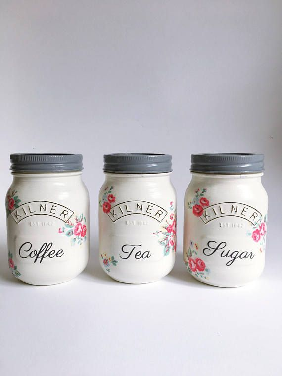 Tea Coffee And Sugar Kilner Storage Jars Kitchen Decor Diy Mason