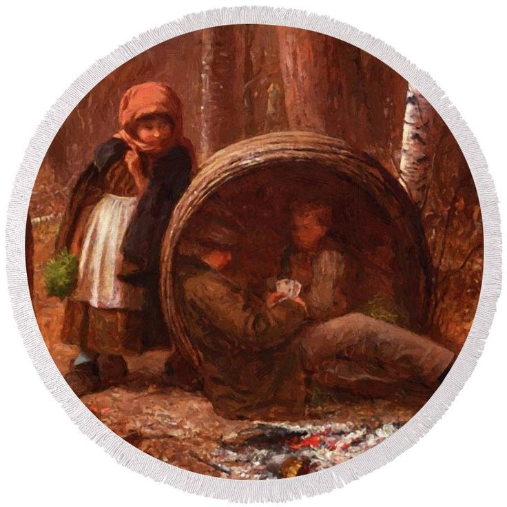 The Round Beach Towel featuring the painting The Eavesdropper 1866 by Johnson Eastman