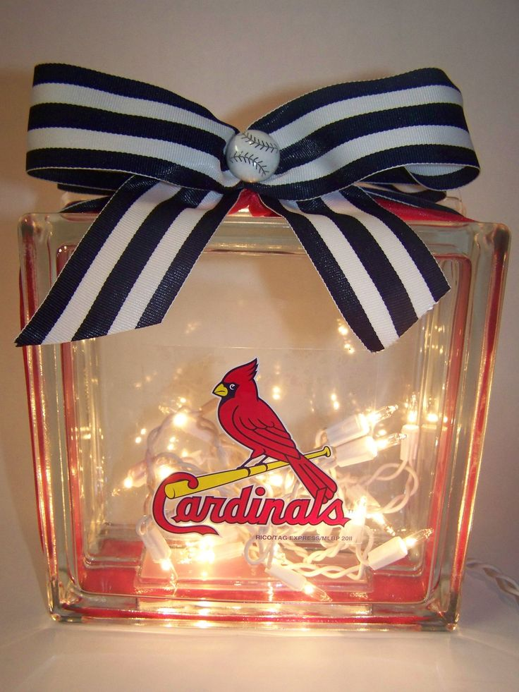 St. Louis Cardinals orcany team Lighted Glass Block or #DIY Center Piece For the sports enthusiast