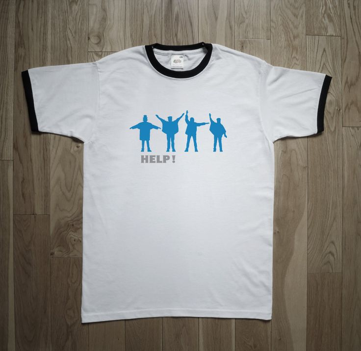 """THE BEATLES """"HELP!"""" T-Shirt Help! is the fifth british album by the Beatles, and the ninth ia America, published in 1965, the album featured fourteen songs, seven of which appeared in the film Help!. The shirt is based on the design and colors of cover of the English edition. The album featured the group with arms positioned to spell a word in """"semaphore alphabet"""". #psychedelic #mod #sixties #beatles #rock #beat"""