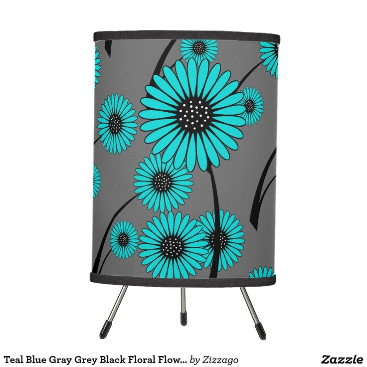 Teal Blue Gray Grey Black Floral Flowers Tripod Lamp