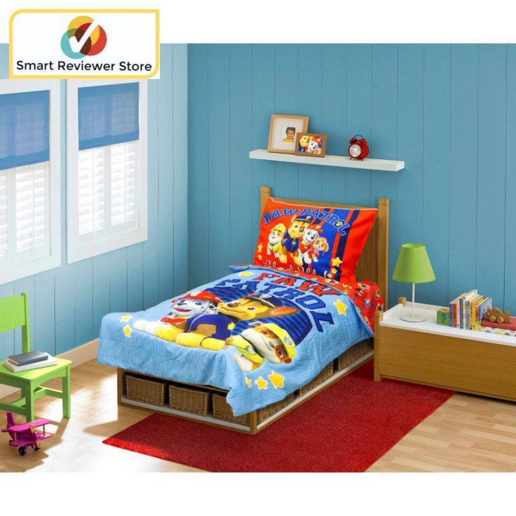 "Paw Patrol Toddler Bed Set 4pc sheets pillow case polyester machine washable Paw Patrol ""Here To Help"" 4pc Toddler Bed Set Baby Toddler Bedding Toddler Bedding Sets SheetsPaw Patrol ""Here To Help"" 4pc Toddler Bed Set:Paw Patrol ""Here to Help"" 4 pc Toddler Bedding Set brings all of your Toddler's favorite paw Patrollers to their bedroomThe reversible quilted bedspread (42"" x 58"") features Chase, Marshall and RubbleThe reverse allover print on red is ..."
