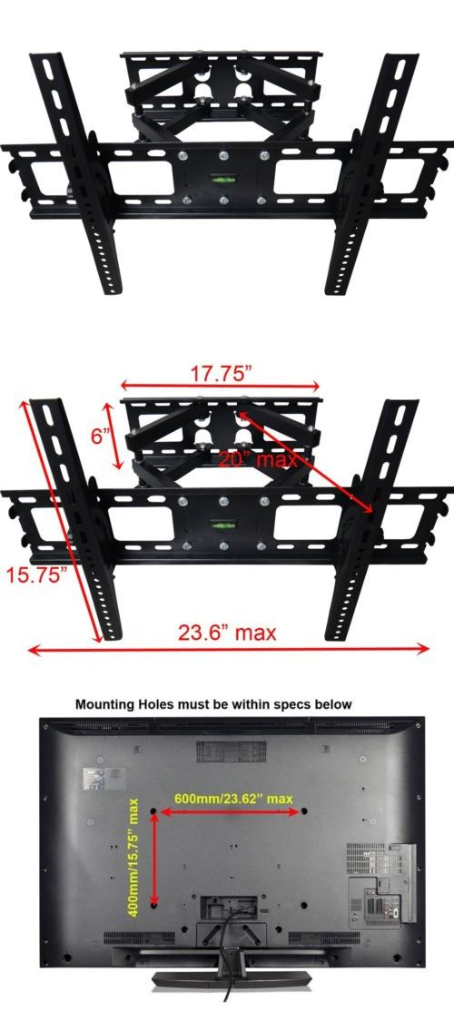 TV Mounts and Brackets: Dual Arm Full Motion Tilt Lcd Led Tv Wall Mount Bracket 42 46 50 55 60 65 70 BUY IT NOW ONLY: $37.99