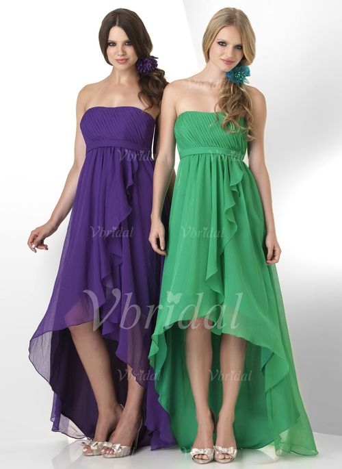 Bridesmaid Dresses - $113.85 - A-Line/Princess Strapless Asymmetrical Bridesmaid Dress With Ruffle (00705006027)