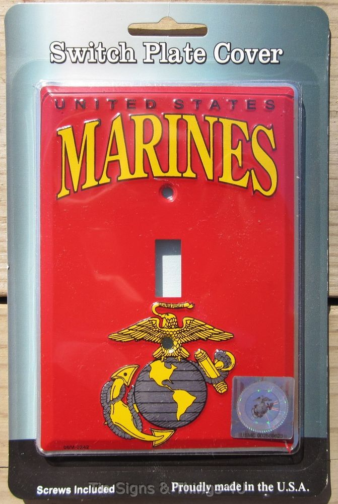 Us Marines Light Switch Plate Cover Metal Garage Bar Wall