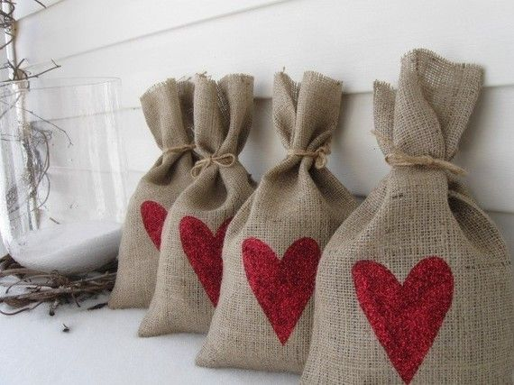 Red Glittered Hearts Burlap Gift Bag Set by funkyshique on Etsy, $20.00.  Note: If so inclined, a great DIY project with own designs for food gifts!