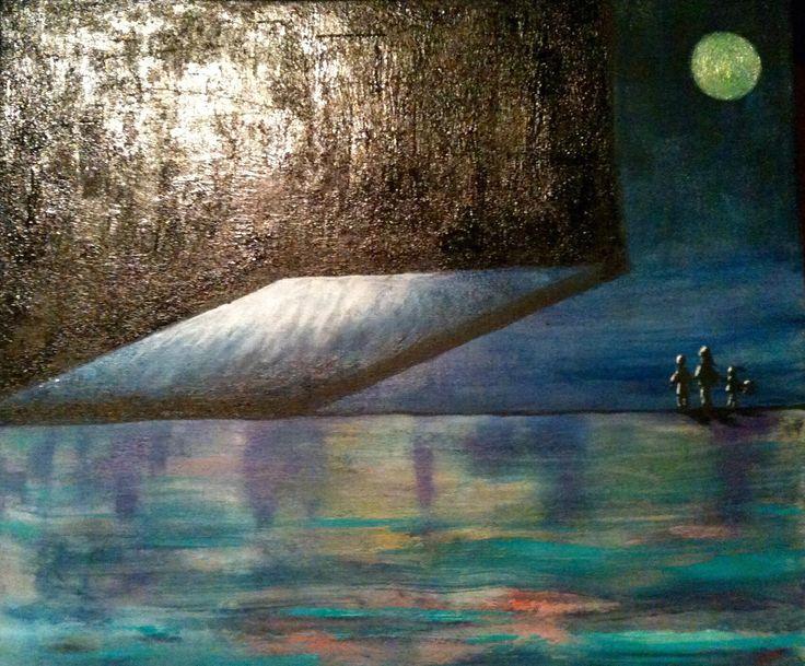 Art surréaliste - Peinture à l'huile et au couteau - Toile tendue sur châssis 55x46 cm Œuvre : Peintures par wilcox-peintures