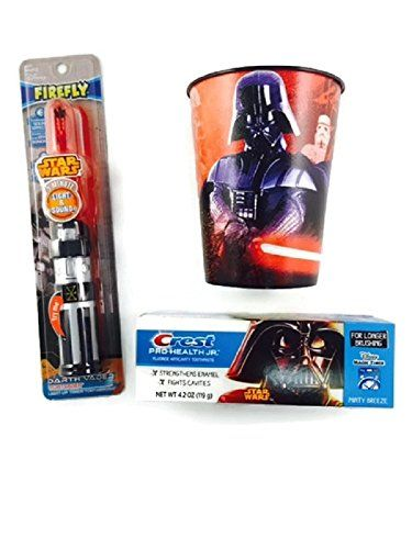 Three items in this #Star #Wars Lightsaber Toothbrush bundle. One Star Wars Lightsaber toothbrush that lights up and has the lightsaber sound for one minute while...