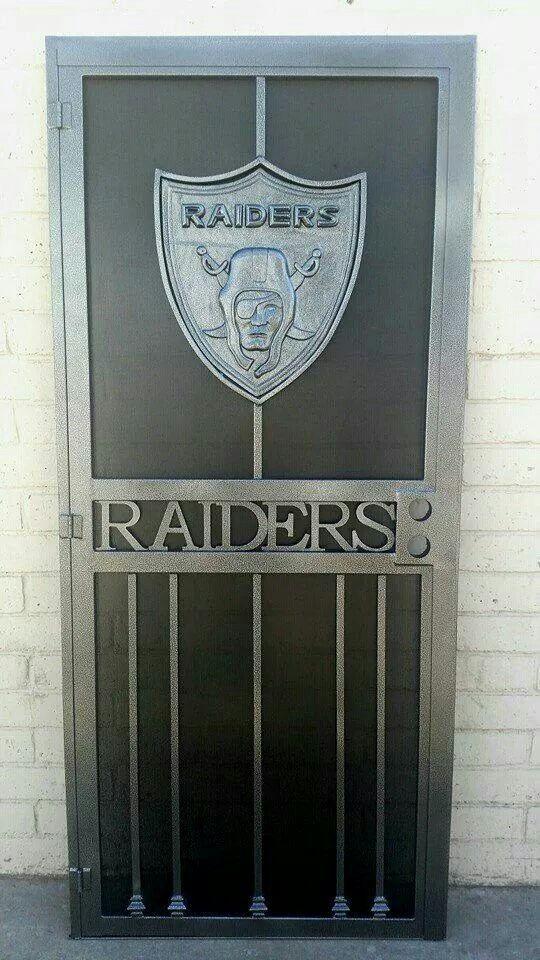 Raiders Screen Door - football nfl man cave decor