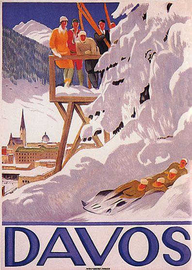 SKI WINTER SPORT BOBSLEIGH BOBSLEDDING DAVOS SWITZERLAND VINTAGE POSTER  REPRO | Vintage posters, Vintage travel posters, Vintage ski posters