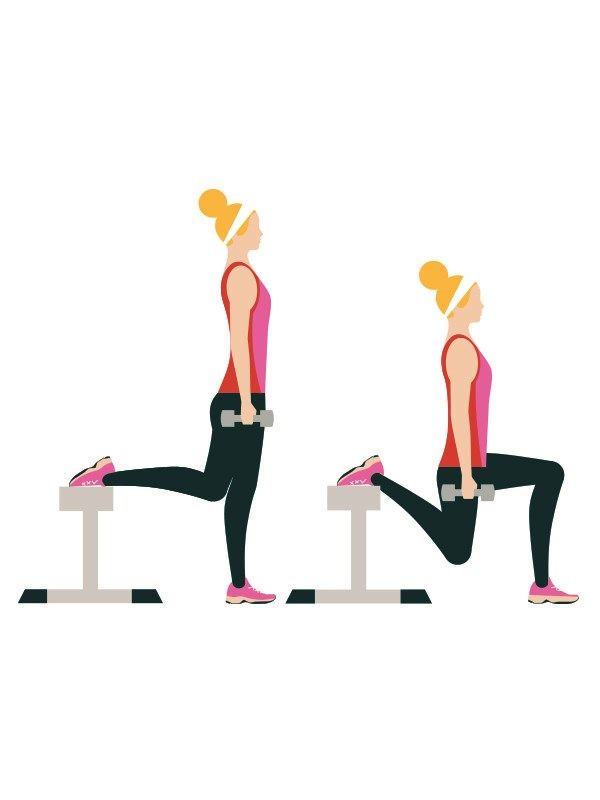 Beginner's workout circuit - Bulgarian split squats: 20 reps each side  Stand in front of a bench. Rest one foot on it, then lower yourself towards the floor by bending both knees. Only bend the leg on the floor until your knee is at a 90° (max) angle. Click to read the full workout on You & Your Wedding's website.