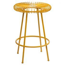 "Perfect pulled up to your kitchen island or pub table, this delightful counter stool is crafted of iron and showcases a timeless yellow finish.     Product: Counter stoolConstruction Material: IronColor: YellowFeatures:Openwork designDimensions: 24.75"" H x 16.75"" Diameter"
