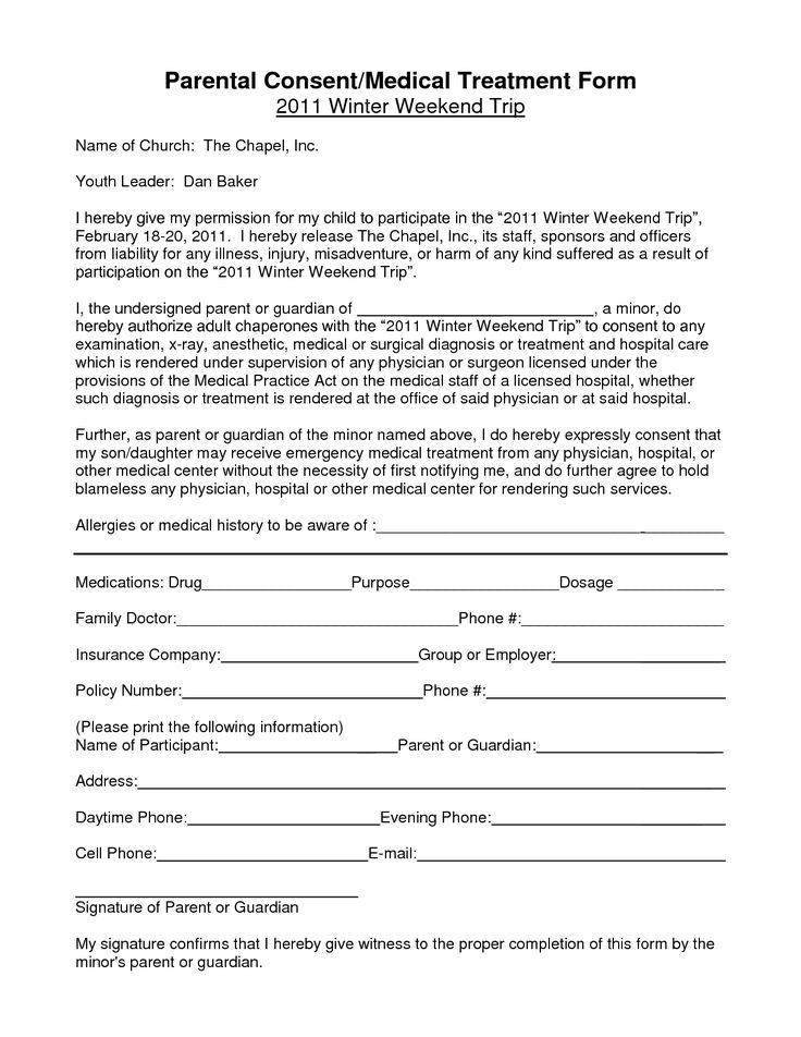 This is an image of Clever Free Printable Medical Consent Form for Minor Child