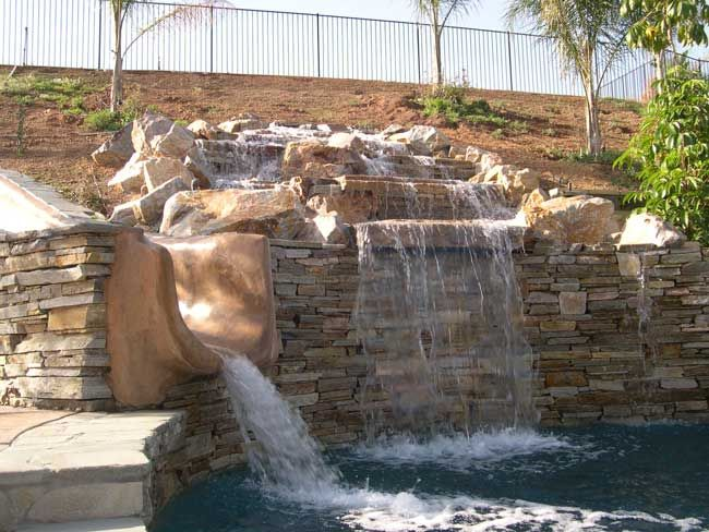 waterfall with ledgecut strip