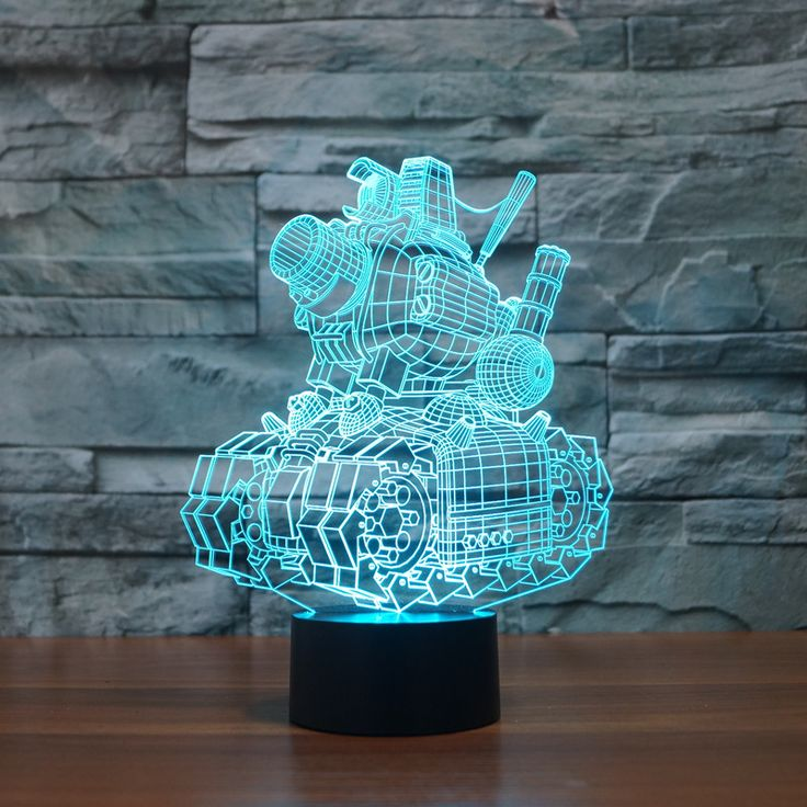 Magical Creative 3D illusion Lamp LED Night Lights Cartoon Tank Design Novelty Acrylic 7color changing Atmosphere Lamp IY803354
