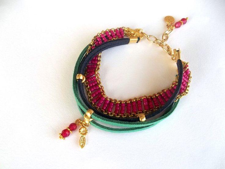 Jewelry, Bracelet, Multi Strand Suede Leather Bracelet, Fashionable, Women Jewelry, Multi Colourful Bracelet, Gift, Fuschia by GULDENTAKI on Etsy https://www.etsy.com/listing/210200195/jewelry-bracelet-multi-strand-suede